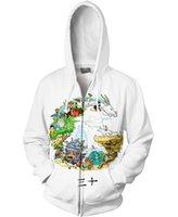 Ceket Fermuar Hoodie Erkekler Baskı Kazak Spirited Away Hoodies Zip Up Kazak Spor Tişörtü 3D Baskı Ceket S-5XL2GKG