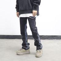 High Street gewaschene Farbmatch Franched Micro-farbige Jeans Herren gerade gespleißte Retro Lose Casual Denim Hosen Hip Hop Hose
