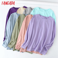Tangada women candy color soft cotton sweatshirts oversize long sleeve O neck loose pullovers female tops 6L1
