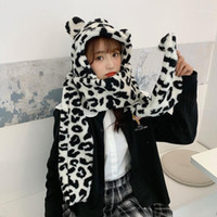 Зимняя нечеткая плюша длинный шарф шляпа с капюшоном Женщины сгущают теплые милые уши медведь уши молока для молока напечатаны напечатанные напечатанные напека
