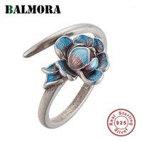 Balmora 925 الفضة الاسترليني الرجعية اللوتس المفتوحة التراص خواتم الزفاف للنساء حزب مينا أنيقة الأزياء والمجوهرات anillos1