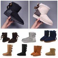 2021 Moda Avustralya Wgg Kadın Platformu Tasarımcı Bayan Motorccle Boot Kızlar Lady Bailey Yay Kış Kürk Kar Yarım Diz Kısa Çizmeler 3 W9QR #