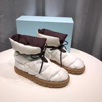 Frauen flache Knöchelstiefel Designer Kissen Daunen Schuhe Wasserdichte Nylonschuhe Schwarz Weiß Lace-up weiche warme Schneeschuhe mit Kasten 265