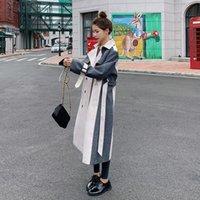 2020 Autunno New coreano di stile di lunghezza media allentato Temperamento Giacca Y023 arrivo Trendy lana cucitura delle donne a vento