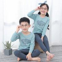 100% algodón niños niñas pijamas conjuntos niños pijamas niños dormir otoño manga larga camiseta + pantalón niño pequeño dibujos animados pijamas1