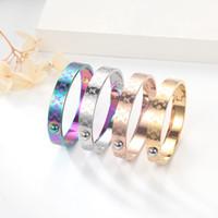 Neue Ankunftsgröße 5,8x4.9cm Top Qualität Gold / Silber / Rose Gold Mono Gramm Armreifen Bunte Vergoldet Armband Edelstahl Armbänder