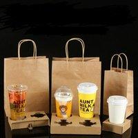 حامل المتاح كرافت ورقة فنجان القهوة مع مقبض مجموعة حقيبة تناول الطعام الشاي الحليب أدوات عصير التعبئة يسلب المشروبات كأس الجرف LX4022