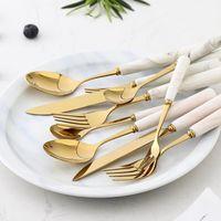 Мраморный керамический ужин набор столовых приборов ножи вилки ложки кухонные посуды из нержавеющей стали домашняя вечеринка посуда набор Dropshipping1