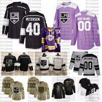 2021 Reverse Retro 사용자 정의 # 40 Cal Petersen 로스 앤젤레스 킹스 jerseys 황금 에디션 카모 재향 군인의 날 싸움 암 하키 유니폼