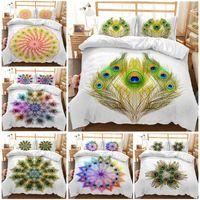 Conjuntos de cama pavão capa edredom 3 pcs colcha conjunto rainha rei edredom single bedloclothes criativos