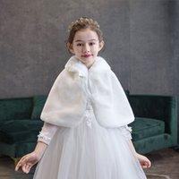 Manteaux d'hiver girl girl filles fausse fourrure capes pour enfants de mariage chaud cale chauve d'épaules bébé fille robe de soirée boléro cap ibim