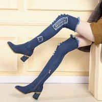 Damen Denim Stiefel über dem Knie spitz dicke High Heels Schuhe Frau Casual Quaste Ausschnitt Jeans Lange Botas Mujer