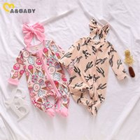 Ma&Baby 0-6M Newborn Infant Baby Girls Footies Cute Ruffles Long Sleeve Jumpsuit Cactus Donuts Print Autumn Baby Girl Clothes 201216