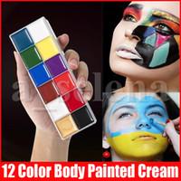 12 موضة لون الجسم رسمت كريم هالوين ماكياج الوجه الوجه طلاء دائم كريم ترطيب الوجه الرسم