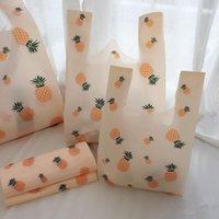 50pcs / lot 3 taglie eseguire borse borse gilet supermercato drogheria shopping sacchetti di plastica con manico confezione regalo borsa