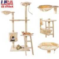 60 дюймов Cat Tower House Cute Sisal канат плюшевые кошка подъемное дерево кошка домашняя игрушка играют упражнения башня бежевая бесплатная доставка