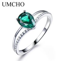 Umcho Green Emerald Gemstone 링 여성용 925 스털링 실버 쥬얼리 낭만적 인 클래식 워터 드롭 사랑 반지 Y0420