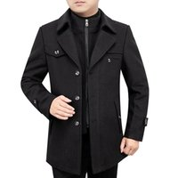2021 New Men's Autunno Autunno Moda Solido Solido Singolo Bresed Zipper Trench Trench Coat Maschile Business Casual Jacket Beauld