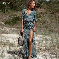 Cropkop NUEVO Boho Floral Print Maxi Long Beach Vestido Mujeres 2020 primavera verano bohemia mujer sexy mujer vestido vestido sundress bobe femme q0111