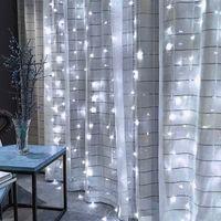 على بيع 300-LED الضوء الأبيض رومانسية أدى سلاسل عيد الميلاد الزفاف في الهواء الطلق الديكور ستارة سلسلة أضواء 110V عالية السطوع