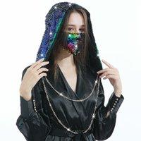 Pullu Şapka Ins Paillette Glitter Cap Cadılar Bayramı Kostüm Kapaklar Maske Seti Ile Moda Glitter Beanie Hood Maskeleri Noel Partisi