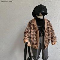 Pull Cardigan Enfants Automne Tricoté Jacket Jacket Manteau Enfants Bébé Pulls pour Garçon Girls Cardigan Vêtements d'extérieur Cardigan Lj201130