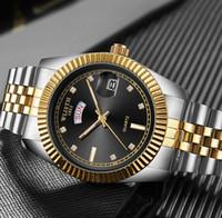 Wlisth Mens Classic Power Reserve Men's Watch European and American Gold Quartz Watch مع المعصم الصلب