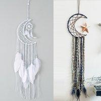 Grande Dream Catcher Half Moon Forma per bambini Wall Hanging Decorazione fatta a mano Piuma bianca Dreamcatchers per il regalo dell'artigianato di nozze