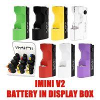 12шт / коробка IMINI V2 БАТАРЕИ В 650 мАч Дисплей Разогреть Box Аккумулятор Mod 3.3V-3.7V-4.2V В.В. аккумулятор для 0.5ml, 1,0 мл 510 бак Керамический распылитель
