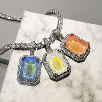 Bling quadrado pingente colar para homens mulheres presentes novos moda mocca cores aaa zircão colar hip hop jóias j0108