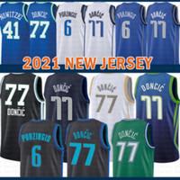 2021 New Luka Basketball Jersey 77 Doncic Mens Kristaps 6 Porzingis Mesh Retro Dirk 41 Nowitzki Juvenil Niños Verde