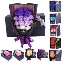 18pcs Creative Savon artificiel parfumé fleurs Rose Bouquet Cadeau Boîte Simulation Rose Saint Valentin Jour Anniverse Decor # G301
