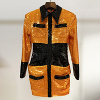 112 xl 2020 Kostenloser Versand Herbst Gelbe Pailletten Langarm Rundhalsausschnitt Spitze Kleid Mode Top Kleid Damen Kleidung Oulai