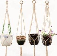 鍋ハンガーサスペンションの植木鉢ロープの壁掛けプランターぶら下がっているバスケット植木鉢バスケット持ち上がる植物の植木鉢海船1-PPD4021