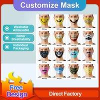 Прекрасный пользовательский логотип маски лицевых масок моды дизайнеры взрослых детей анти пыль ветрозащитная партия маска моющийся многоразовый комфорт унисекс маска