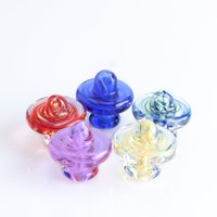 New High Quality Stripe Glass UFO Cap Carb Cap Heady Glass Smoking Accessories For Quartz Banger Nails Glass Water Pipes Dab Rigs