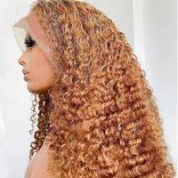 30 # блондинка кружева фронт человеческих волос парики предварительно сорванные бразильские волосы безразличных париков 100% необработанные вьющиеся человека