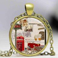 Colar de pingente de viagem Calça de telefone vermelho Londres Inglaterra Reino Unido Reino Unido colar de arte mulheres homens jóias cadeia colares charm1