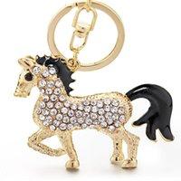Anahtarlıklar Benzersiz Güzel At Narin Kristal Anahtarlık Araba Hayvan Rhinestone Çanta Çanta Kolye Hediye Kadınlar Anahtarlık DK400