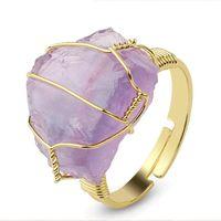 Натуральный камень Нерегулярная проволочная обертка женские кольца заживление фиолетового пороса кристалл флюорита золотой цветовой резюме мода пальца
