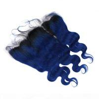 الأسود والأزرق الداكن أومبير الماليزي الجسم موجة شعر الإنسان نسج حزم مع 13x4 كامل الرباط أمامي # 1B الأزرق أومبير عذراء الشعر