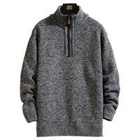 Мужские свитера осенью мужской густой теплый вязаный пуловер твердой с длинным рукавом водолазки половина на молнии шерстяной флис зимнее пальто удобная одежда1