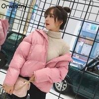 ORWINDNY Abrigo de invierno de otoño mujeres con capucha con capucha Chaqueta de algodón de mujer corta Chaqueta femenina cálida Sweet Pink Parka Girls 210203