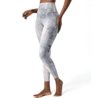 Roupas femininas Cintura alta Apertado Yoga Calças Diamond Tintura Suor-Wicking Waving Wunder Train Fitness Leggings1