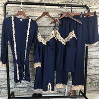 Qweek Hogar ropa mujeres pijamas sexy encaje pijamas conjunto 5 piezas pijama mujer moda pijama ropa de dormir con almohadillas de pecho Q1201