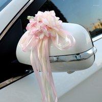 실크 리본 꽃 웨딩 파티 인공 꽃 신부 자동차 거울 문 장식 C441