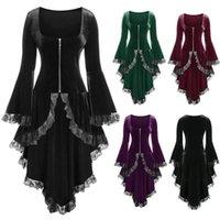 Strega di Halloween Top Donne Gothic Cross Lace Fashion Donne Plus Size Pizzo Alta manica a campana in pizzo Top Peblum Velvet Zipper Cappotto X1217