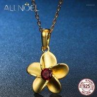Cadeias Allnoel 925 Sterling Prata Natural Garnet Branco Zircão Flor Pingente Colar de Ouro Cor Moda Ladies Jóias Adorável Presente1