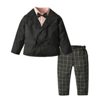 Camiseta + blazer + calça 3 pcs crianças crianças meninos traje formal cavalheiro blazers terno terno terno menino crianças festa roupas y1117