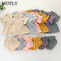 2pcs Newborn Infant Baby Girls Clothes Sets Cute Cotton Soft Solid Ruffles Short Sleeve T Shirts Tops+Shorts Outfits Suit F1210